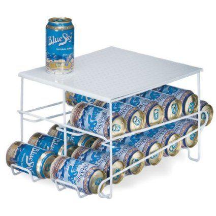 Organized Living 24 Can Beverage Dispenser Soda Coke Storage Rack Steel White