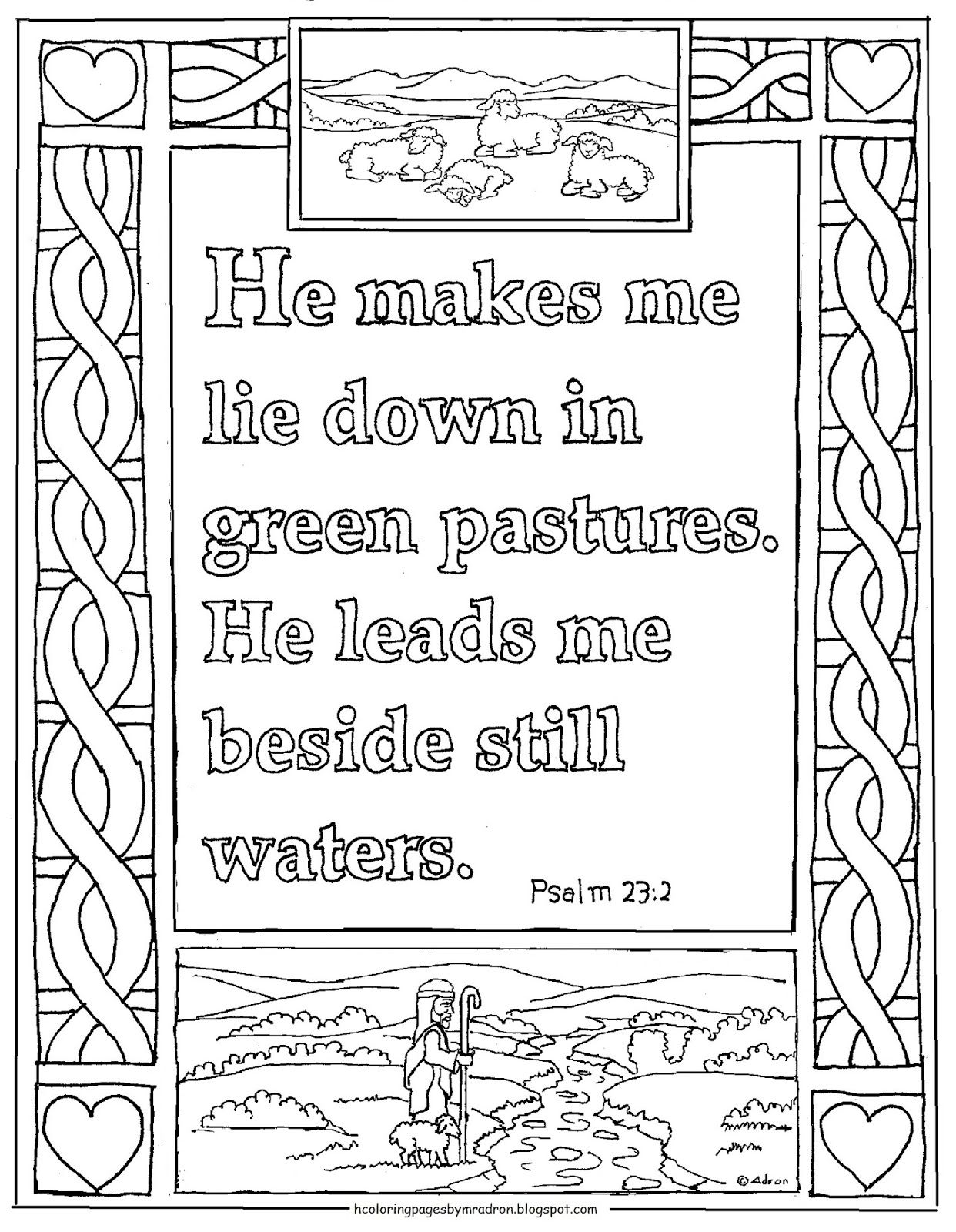 Psalm 23 2 Printable Coloring Page It Is The Green