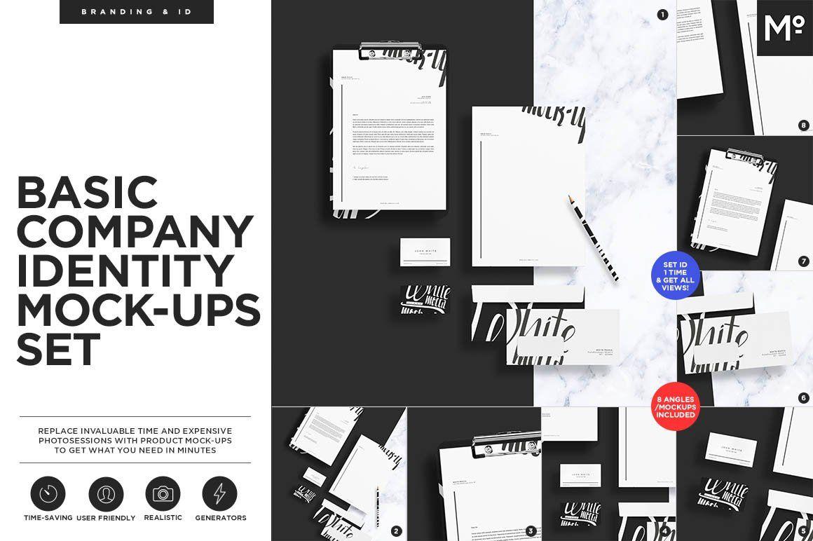 Basic Company Identity Mock Ups Set Company Identity Branding Mockups Wellness Design