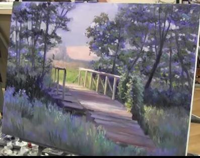 Dessin et peinture - vidéo 2006  Le pont de bois à la lisière de la