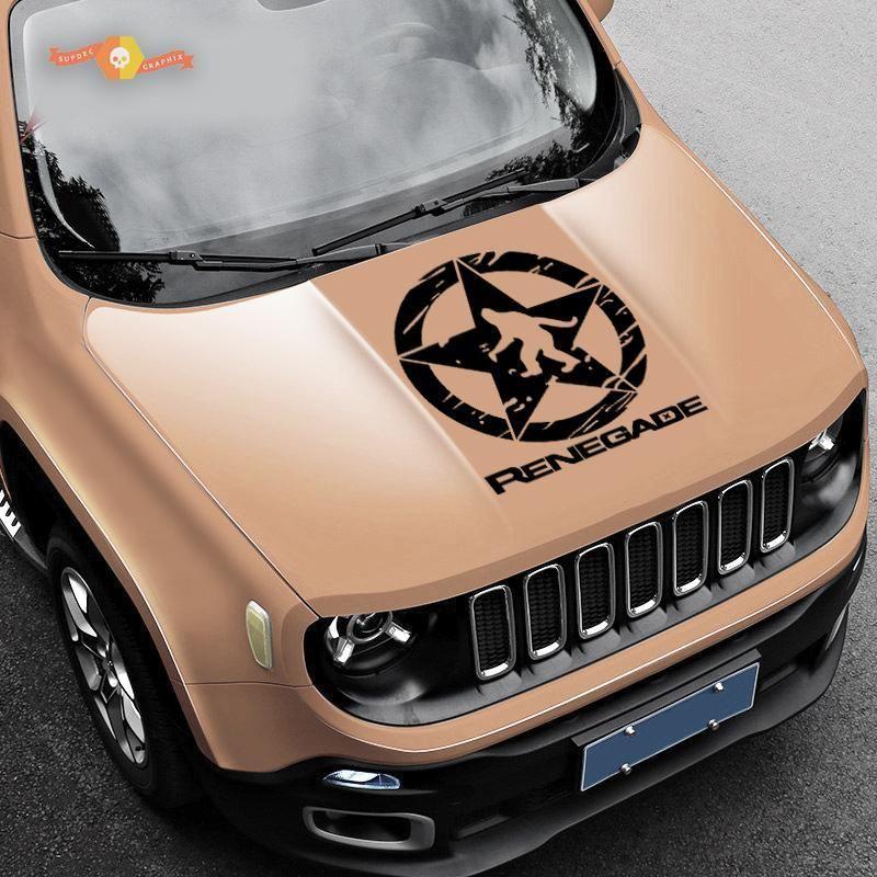 Jeep Renegade Yeti Sasquatch Army Star Distressed Vinyl Decal