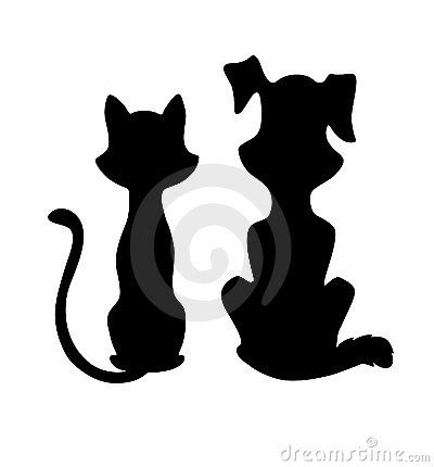 Cat And Dog Silhouette Silhouette Clip Art Dog Silhouette Art