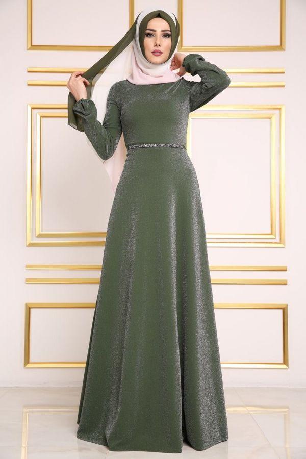 Yeni Urun Simli Tesettur Elbise Haki Urun Kodu Bnm00334 139 90 Tl Elbise Modelleri Elbise The Dress