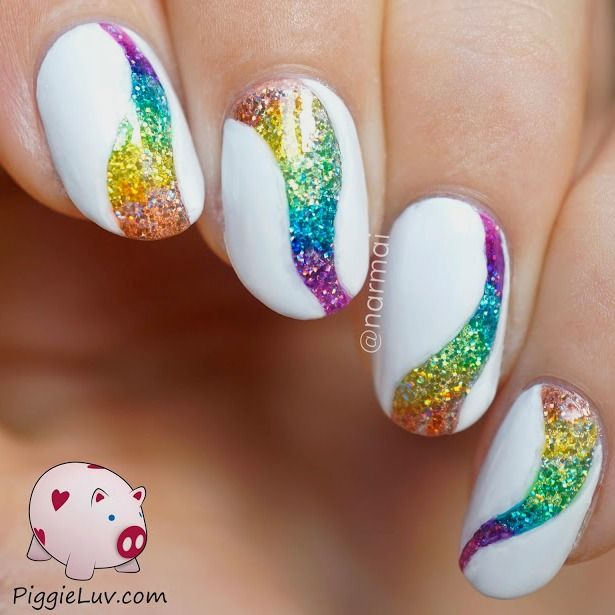 Piggieluv Rainbow Bubbles Nail Art: Glitter Tornado Nail Art With OPI Color Paints