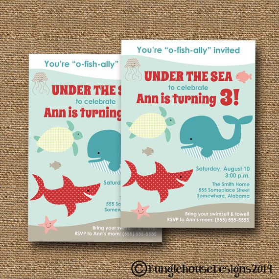 Under The Sea Ocean Birthday Party Invitation Swim DIY PRINTABLE Cute Animals Shark Whale Turtle Fish For Boy Or Girl