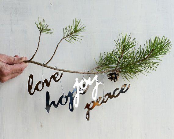 Mirror Word Ornament Set  Peace Hope Love Joy Set of 4