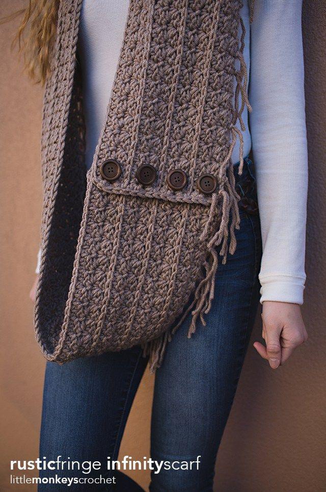 Rustic Fringe Infinity Scarf   Pinterest   Crochet bufanda, Haken y ...