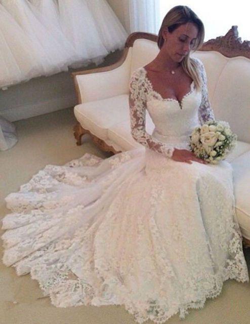 Weiß Elfenbein Spitze V-Ausschnitt Hochzeitskleid Brautkleider Größe ...