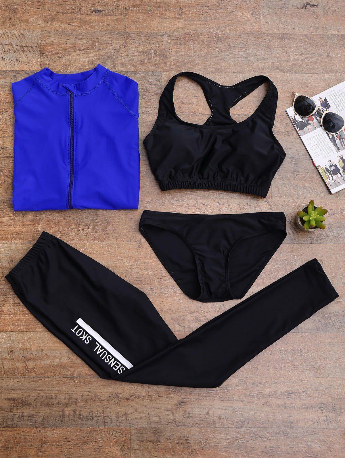 Graphic Zip Up 4PCS Wetsuit - BLUE XL