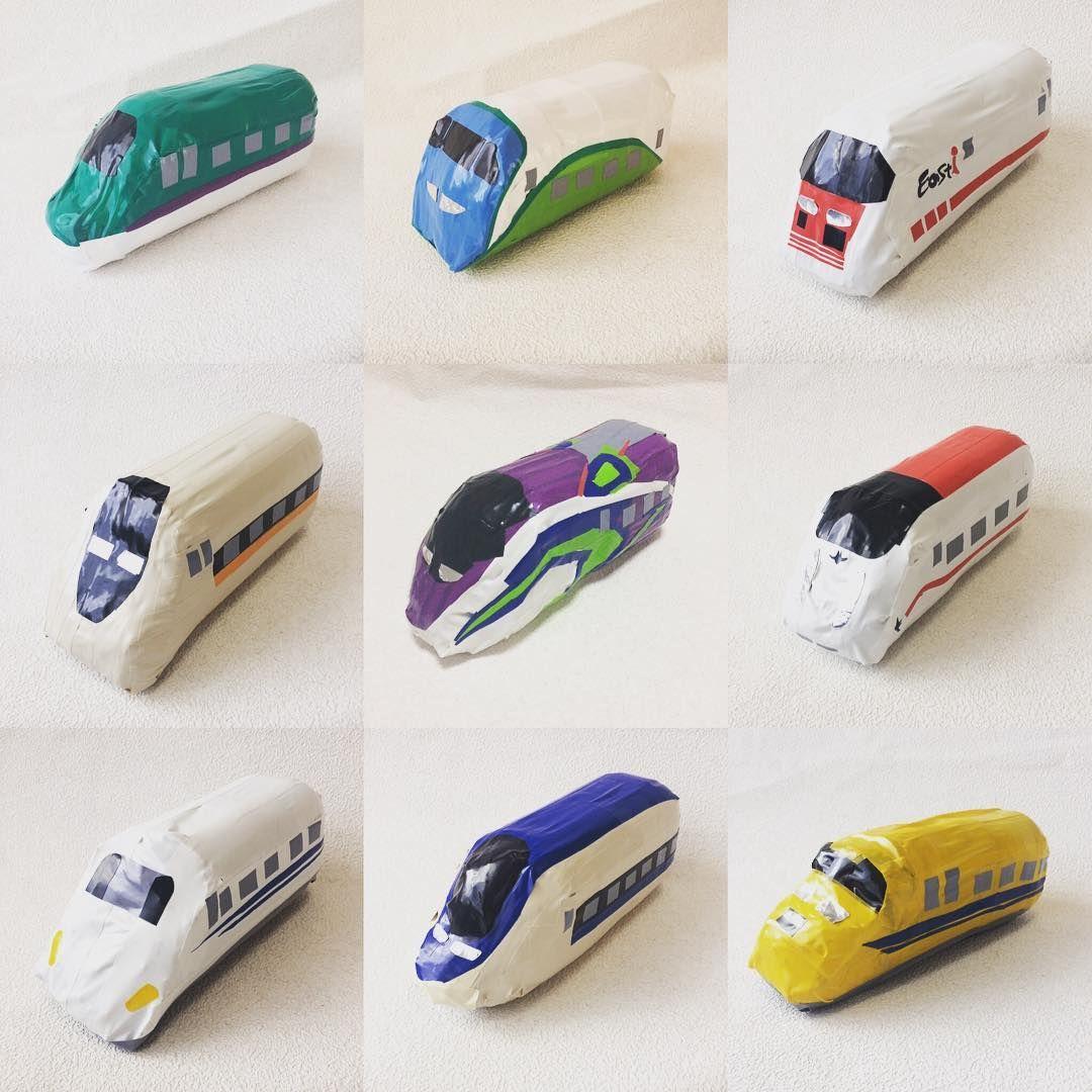 ペットボトル新幹線 第2弾 上段左から H5系 北海道新幹線 E3系 とれいゆつばさ Easti イーストアイ 中段左から 700系 ひかりレールスター 500typeeva 800系 つばめ 下段左から Toy Car Toys Japanese S