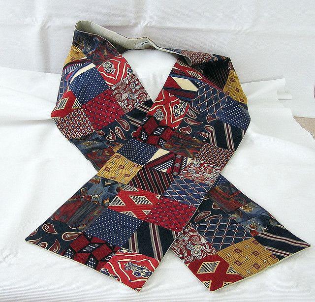 Vintage Necktie Patchwork Scarf Altering Clothes Tie