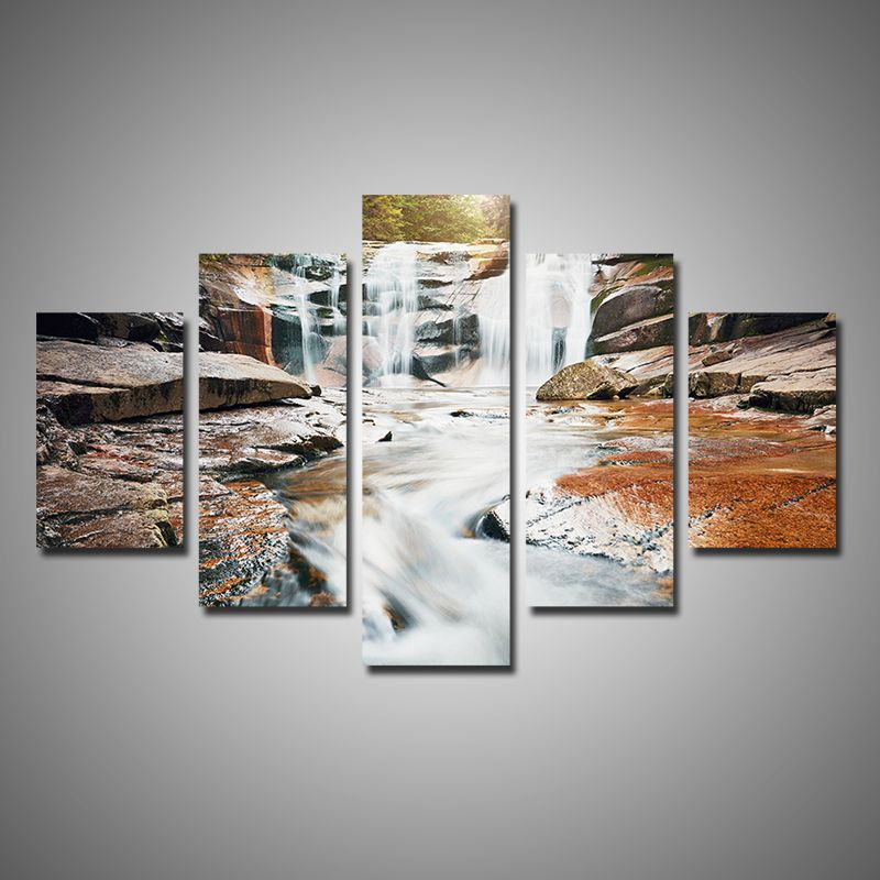 Modern Home Decor 5 Pieces Multi Panel Canvas Wall Art Forest Waterfall On  Rocks Nature Paintings