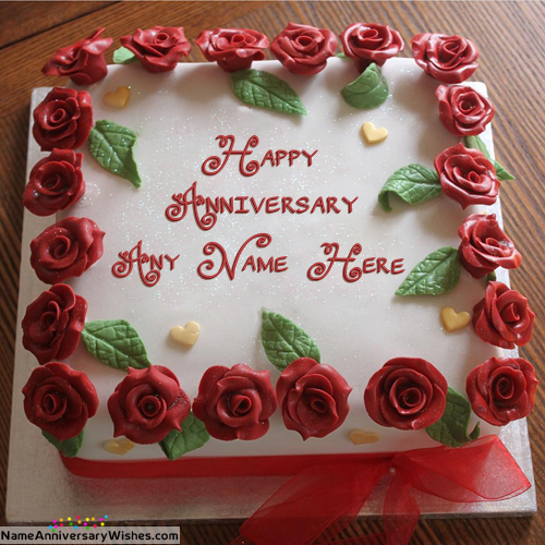 Beautiful Flowers Marriage Anniversary Cake With Name