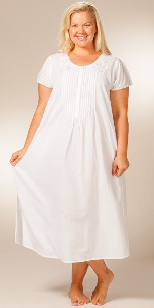3f7897eafcb Plus Size to 4X Soft   Easy Cotton Nightgown - Short Sleeve White Gown by La  Cera