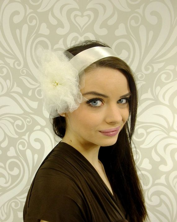 SALE Bridal Hair Ivory Tulle Bridal Flower Hair by RuthNoreDesigns