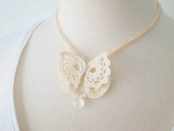 5465e6abf67a8 Irish Crochet Lace Jewelry Butterfly IIa Fiber by DorisChiStudio ...