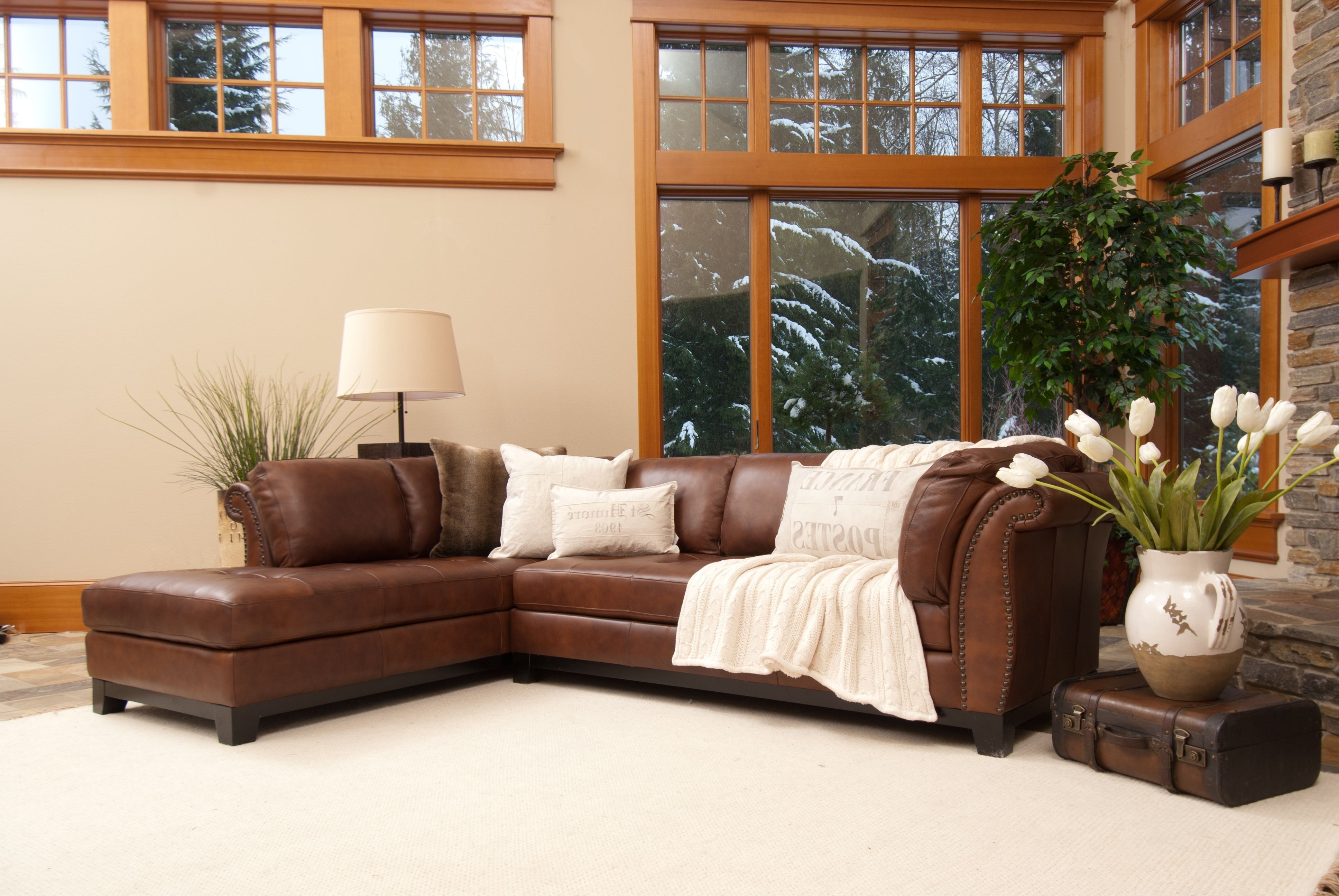 Corsario Bourbon Leather Sectional Sofa