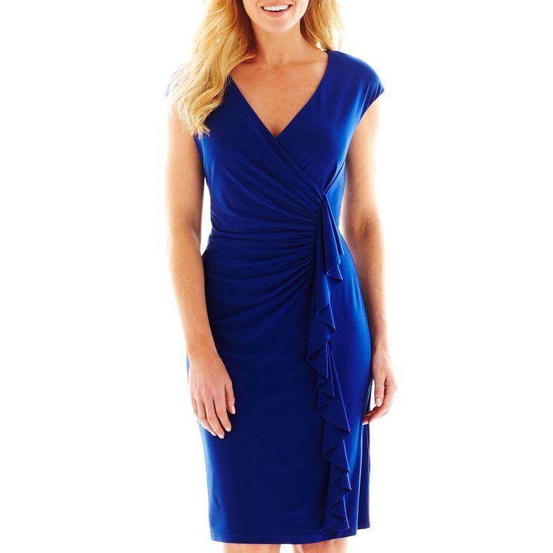 jcpenney - American Living Side-Drape Dress - jcpenney cobalt