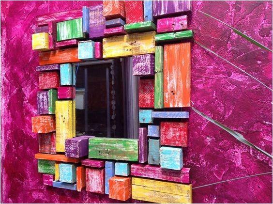 Espejo marco en madera reciclada en distintos tama os y for Espejos con marco de madera decorados