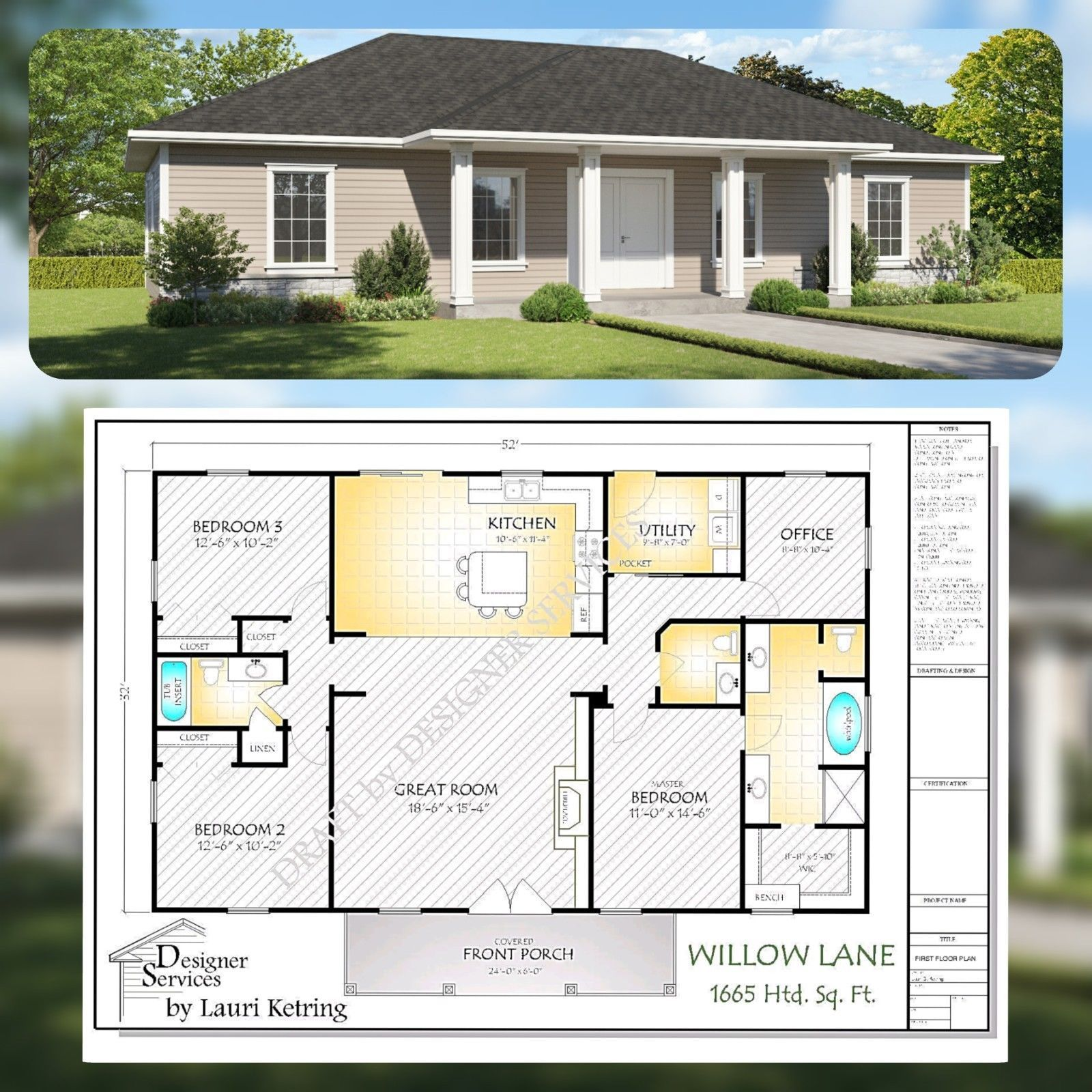 Willow Lane Custom Home House Plan,1650 Sq Ft | New house ... on rambler house plans and designs, mid century modern room designs, rambler style house designs, custom ranch home designs, rambler house exterior designs,