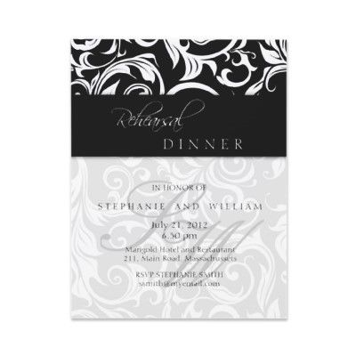 #black #swirl #monogram #rehearsal #dinner #card #invite