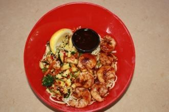 Blackened Shrimp Bowl Spicy Rice Or Noodles Blackened Shrimp And Sauteed Vegetables From Fire Island Grill In Simi Food Fire Island Grill Sauteed Vegetables