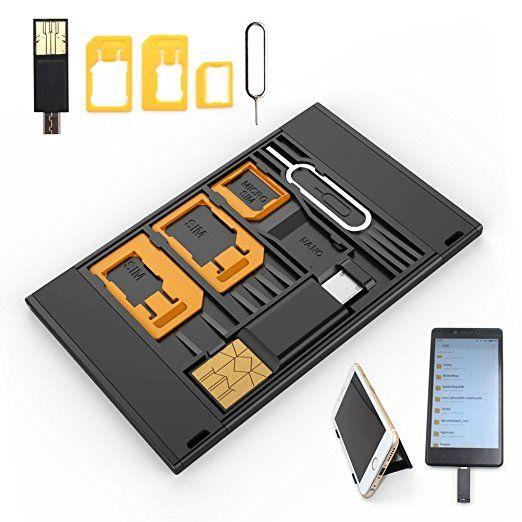 Shinymod Nano Sim Card Micro Sim Card Microsd Card Case Storage Phone Holder With 3 Sim Card Adapters 1 Micro Usb Otg Reader An Sim Card Adapter Sim Cards Otg