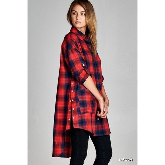 (S-L) Plaid Buttoned Tunic Coming Soon - Checkered tunic shirt featuring snap buttons on sides and large front pockets. Button-tab long sleeves. Unlined. Non-sheer. Lightweight. A limited quantity is available in each size S-L. To reserve, please comment with size. Tops Tunics