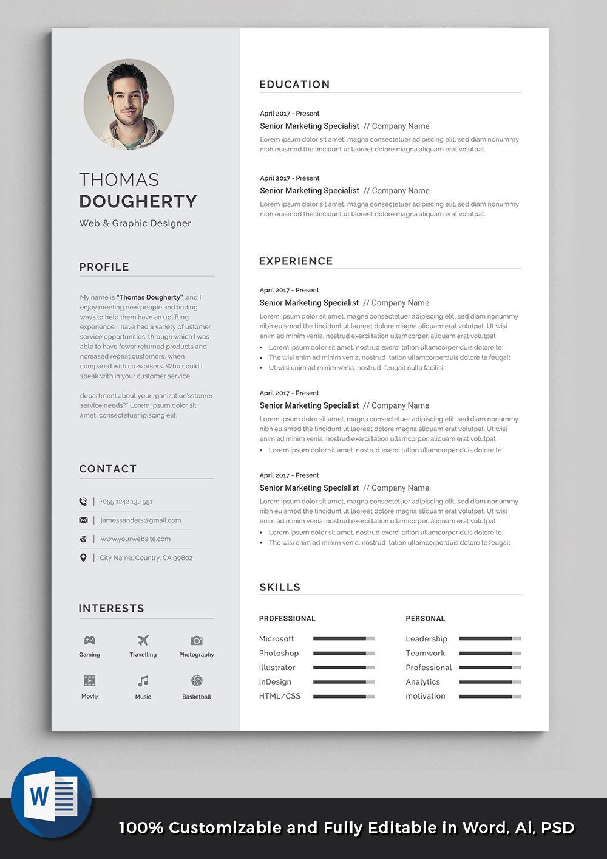 Cv Template Resume Template Professional Resume Resume Design Word Resume Resume Words Job Resume Template Creative Resume Templates