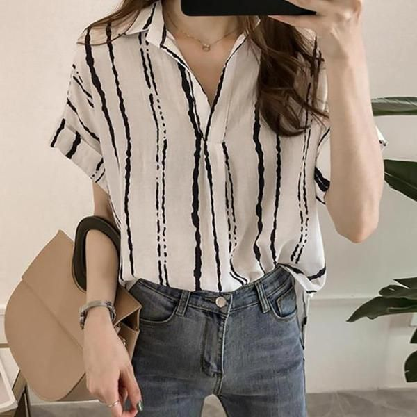 Casual Loose Plus Size V Neck Short Sleeve Strips Shirt Blouse