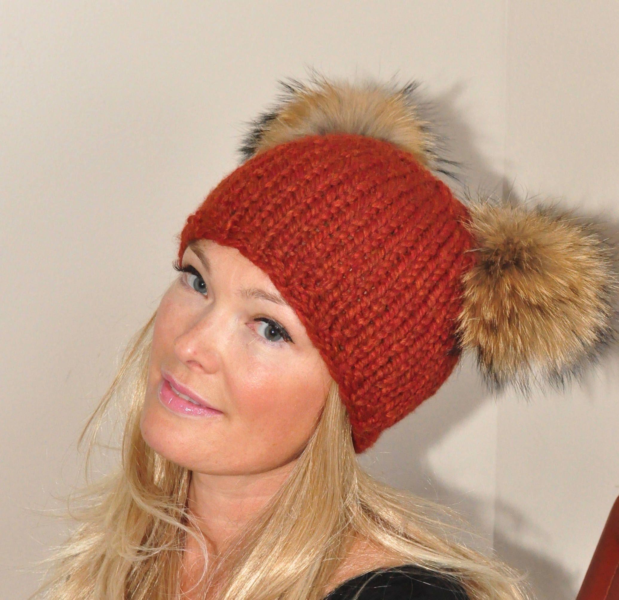 ffe28f01e31 Fur Pompom Beanie Kylie Jenner Hat 2 Fur Bobbles Hat CHOOSE COLOR Pumpkin  Spice Ski Women Hat Double Pompom Christmas Gift under 100 by lucymir on  Etsy