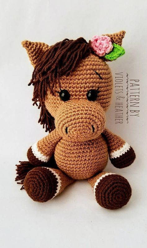 CROCHET PATTERN for Pretty Crochet Horse, Pretty Pony Crochet Pattern. Instant PDF Pattern Download. Amigurumi Patterns, Violets and Heather