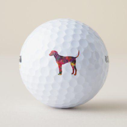 Plott Hound Geometric Pattern Silhouette Multi Golf Balls | Zazzle.com