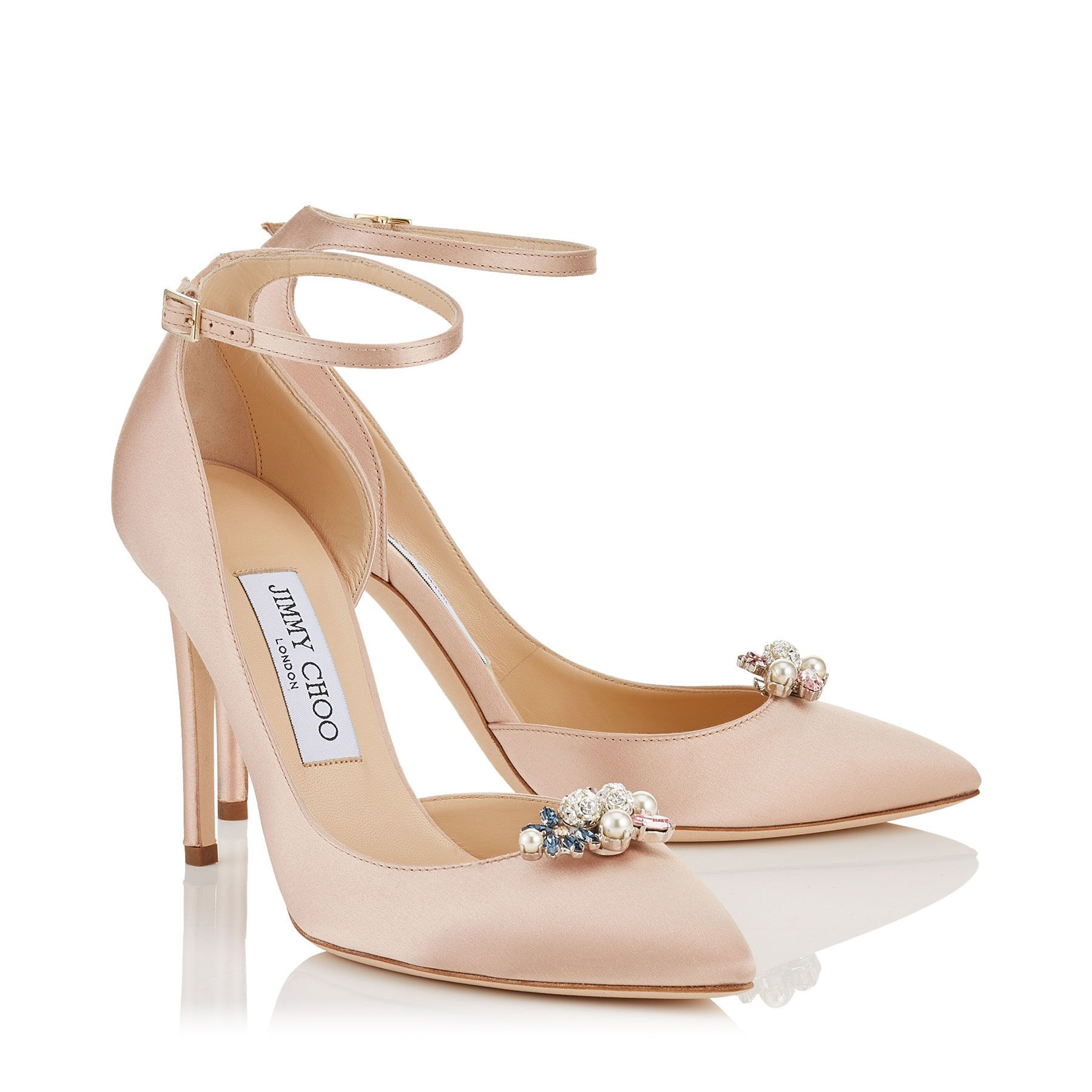 Dusty Rose Satin Pointy Toe Pumps with Crystal Mix Clip On Jewels | Rosa 100  |