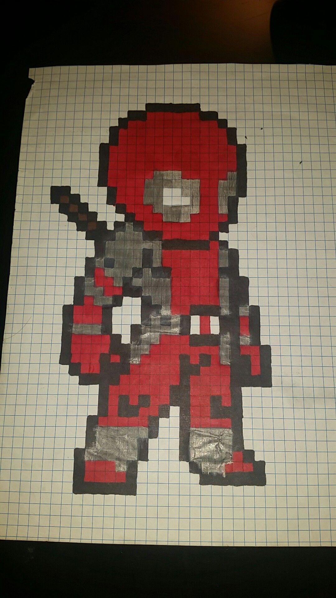 Deadpool Pixel Art Dibujos En Cuadricula Patrón De