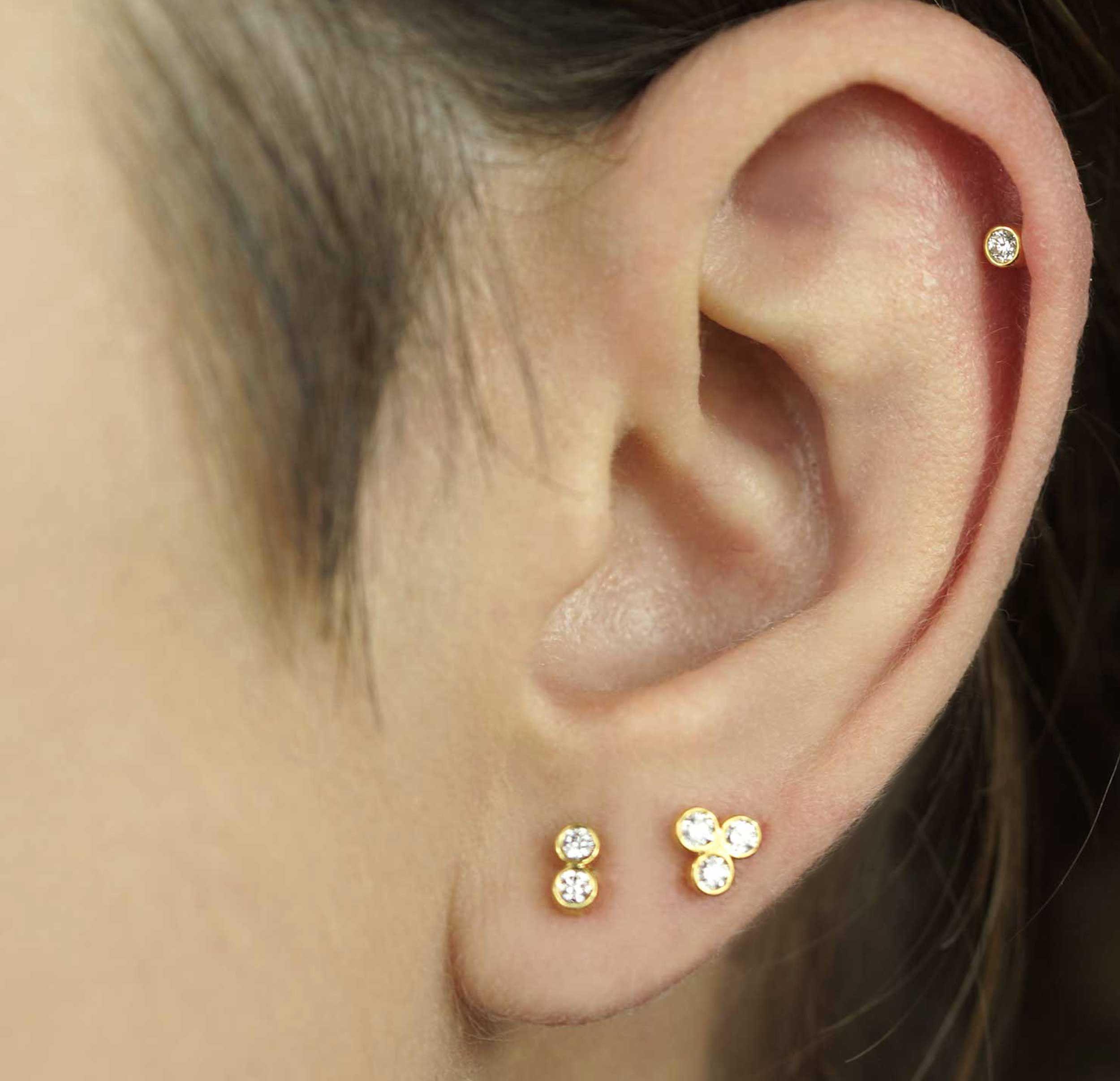 d972c6f53 Medium Single Diamond 18K Yellow Gold Cartilage Piercing Stud | LENA COHEN  Our jewelry takes piercings