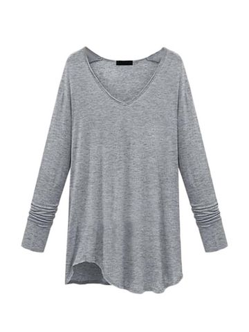 Plus Size V Neck Solid T Shirt & Tops - at Jollychic