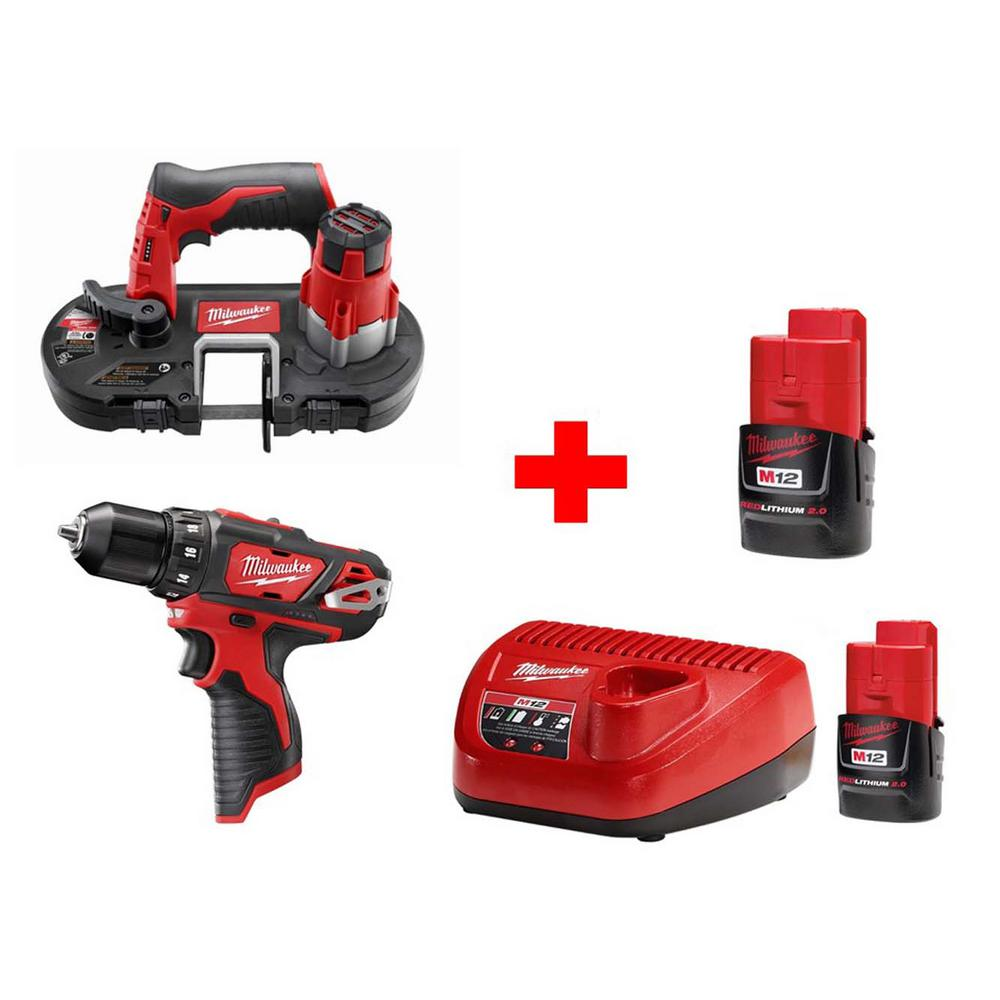 Milwaukee M12 12-Volt Lithium-Ion Cordless Sub-Compact Bandsaw and Drill Driver Combo Kit (2-Tool)