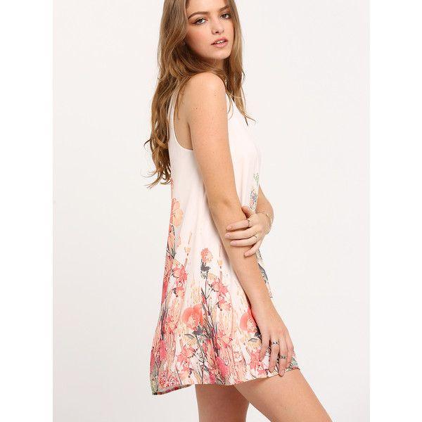 a0191ea2bde4 SheIn(sheinside) Floral Print Keyhole Back Tank Dress ( 15) ❤ liked ...