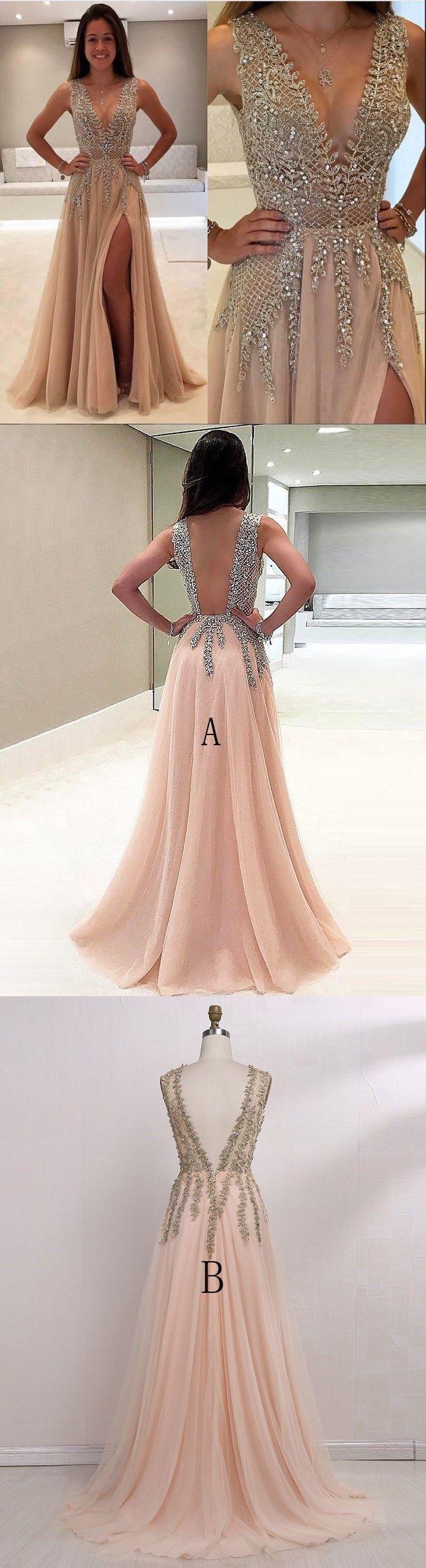 A-Linie V-Ausschnitt bodenlang Ärmellos Tülle Abendkleider # JKL175