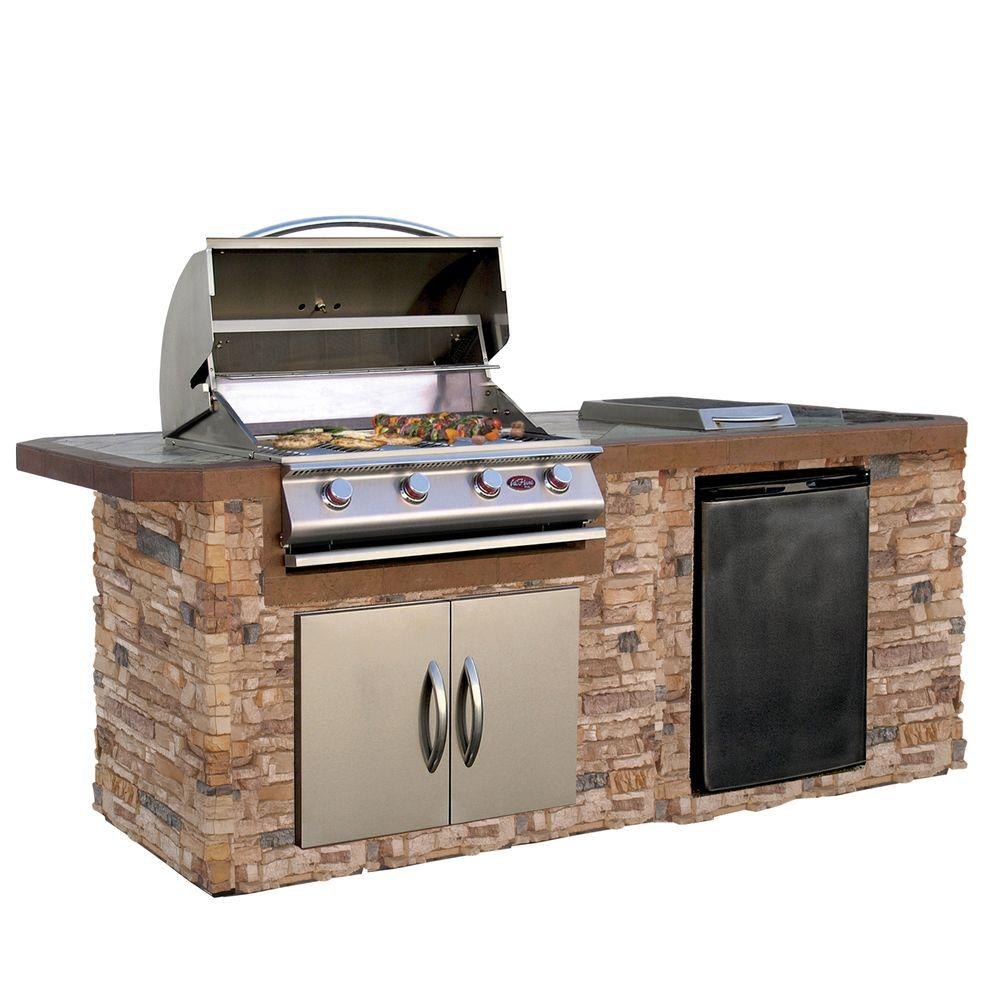 Cal Flame 7 Ft Stone Veneer Grill Island With Tile Top And 4 Burner Gas Grill In Stainless Steel Lbk 710 As The Home Depot Outdoor Kitchen Island Outdoor Kitchen Appliances Outdoor Kitchen