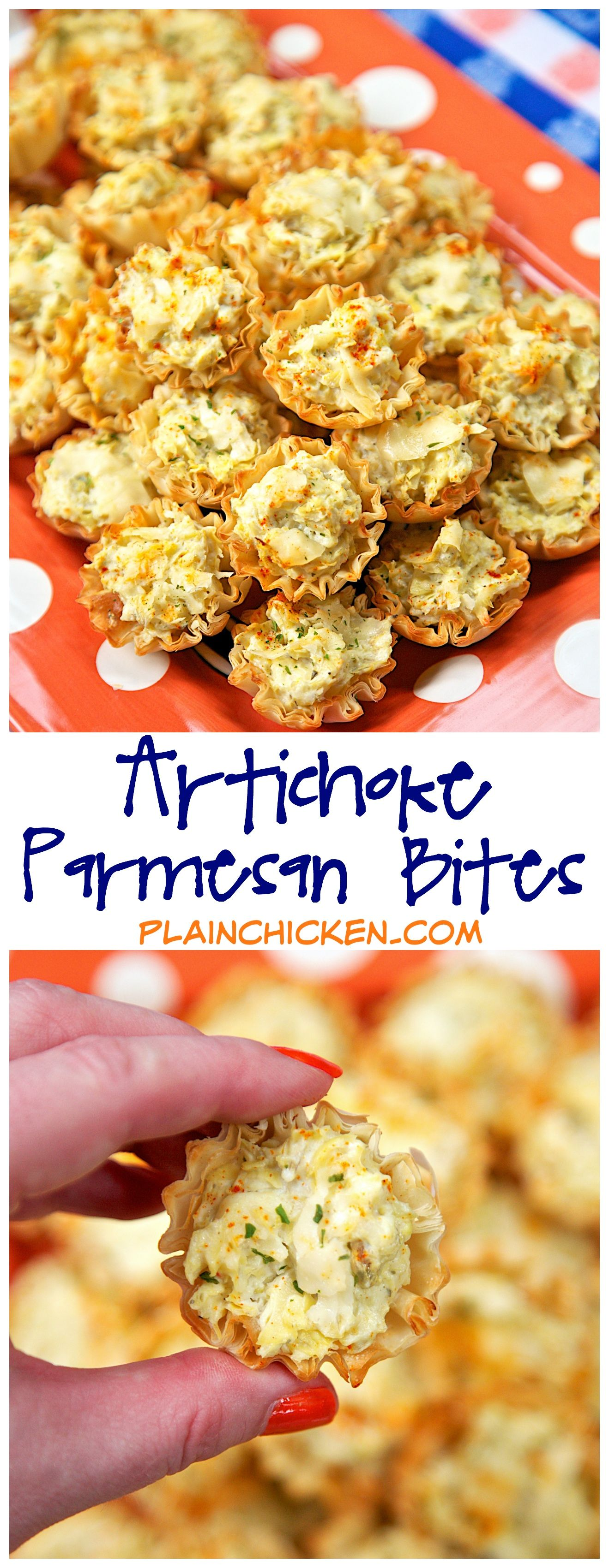 Artichoke Parmesan Bites - only 5 ingredients! Can make ahead of time and refrigerate or freeze for later. Great for parties! We could not stop eating these. YUM! #tailgatefoodmakeahead