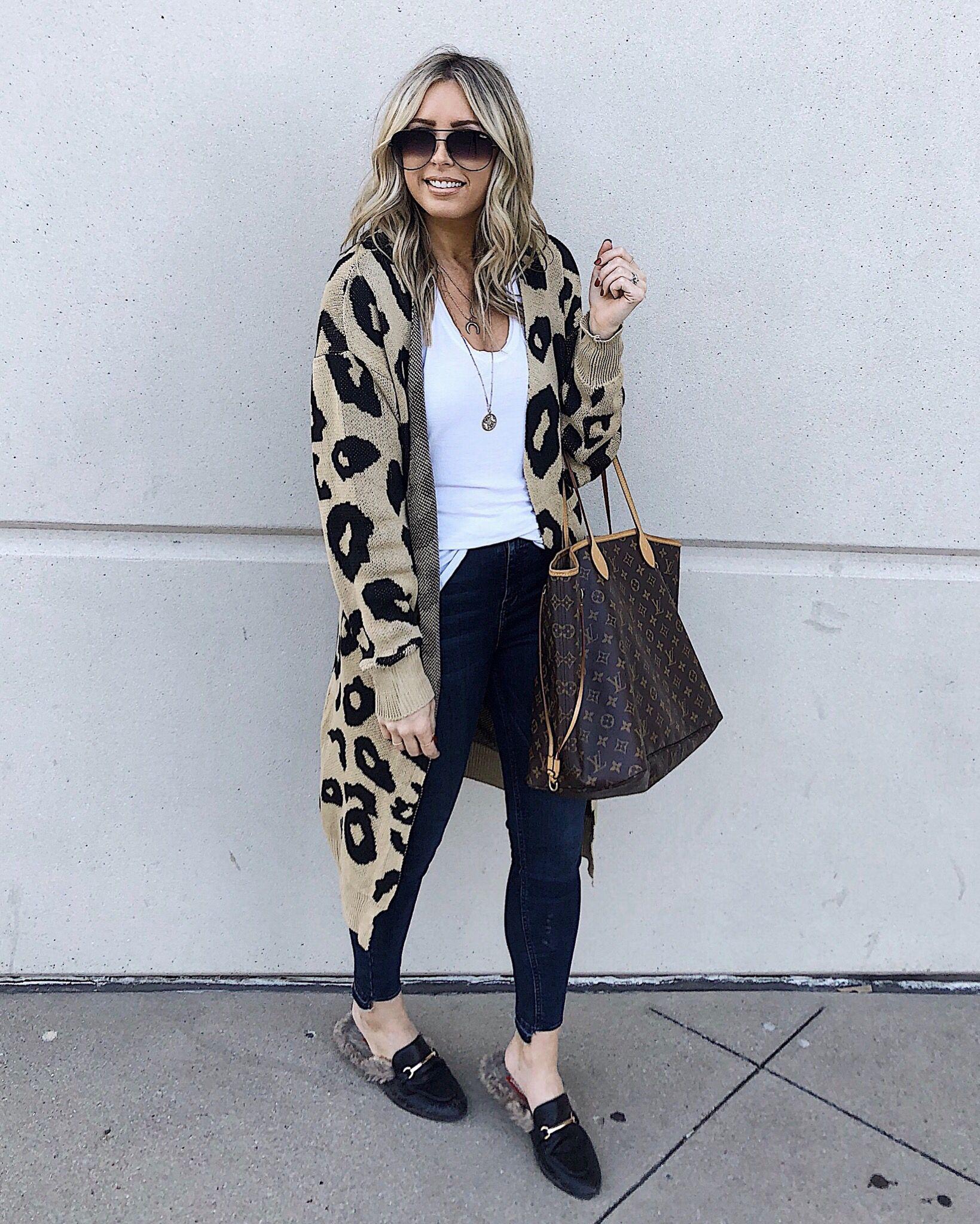 8b012559f Leopard cardigan, jeans outfit, fall fashion, gucci mules outfit, fur  mules, fur mules fall