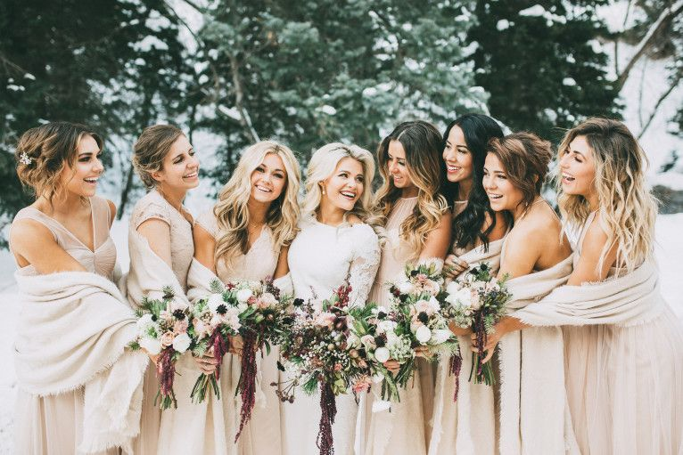 Love the shawls on the bridesmaids