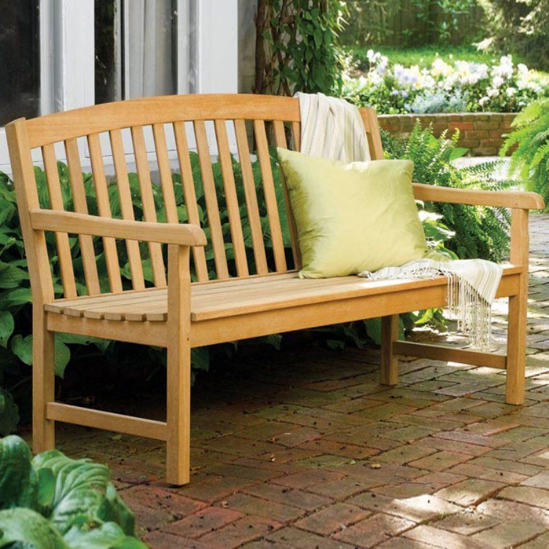Outdoor Oxford Garden Chadwick Wood Curved Back Garden Bench - CH ...