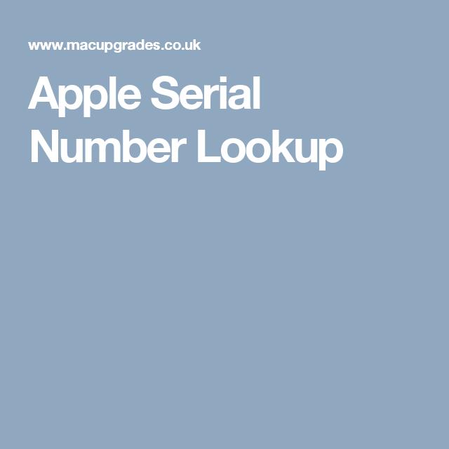 Apple Serial Number Lookup