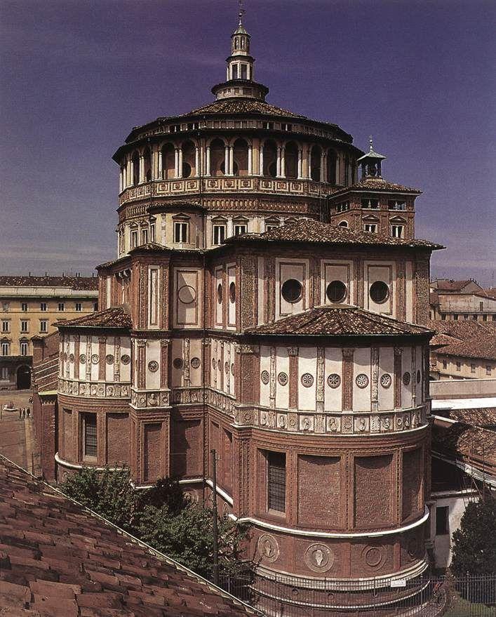 BRAMANTE, Donato. Exterior of the church begun c. 1492 Santa Maria delle Grazie, Milan