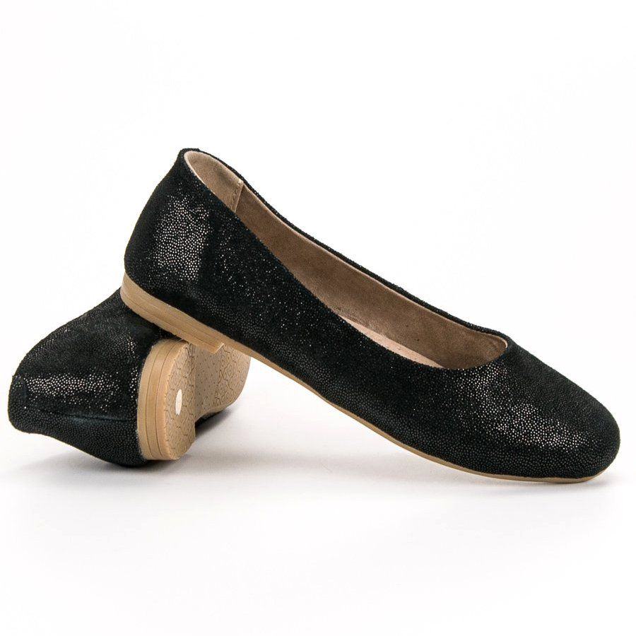 Skorzane Baleriny Vinceza Czarne Women Shoes Types Of Heels Leather