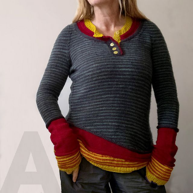 "Ravelry: 3 in 1 pattern by atelier alfa (One sweater, with three ""layers"" and contiguous sleeves. Cleverness!)"