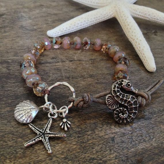 Sea Horse & Starfish Knotted Leather Wrap Bracelet, Pink Sand Beach $38.00